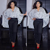 Rita Dominic stunning in monochrome outfit