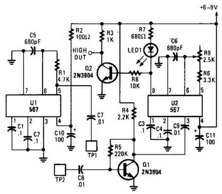 Simple Tone Burst Generator Circuit Diagram