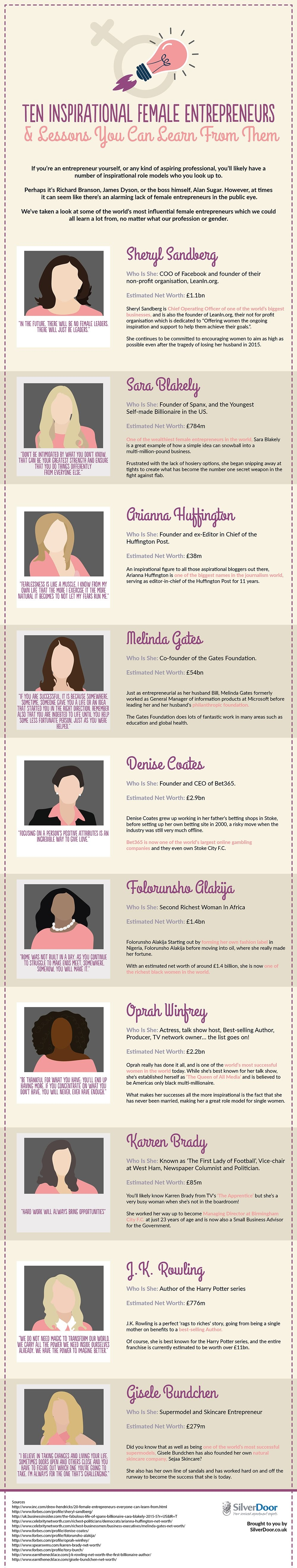 10 Inspirational Female Entrepreneurs & Lessons You Can Learn From Them - #Infographic