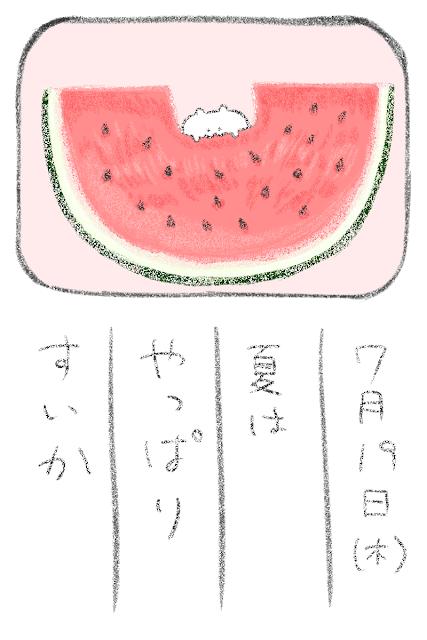 すいかを食べるハムスターのイラスト