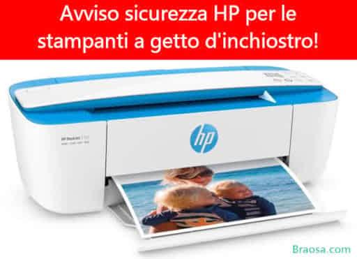 Avviso di sicurezza HP sulle stampanti a getto inchiostro per possibile virus