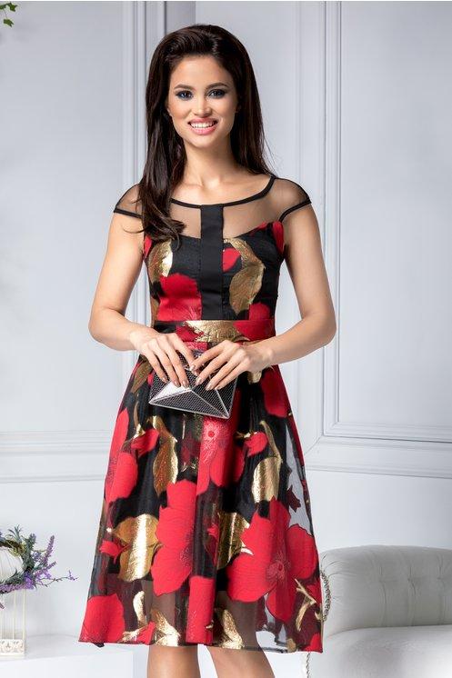 Rochie lejera de vara de ocazie neagra cu imprimeu floral rosu- auriu