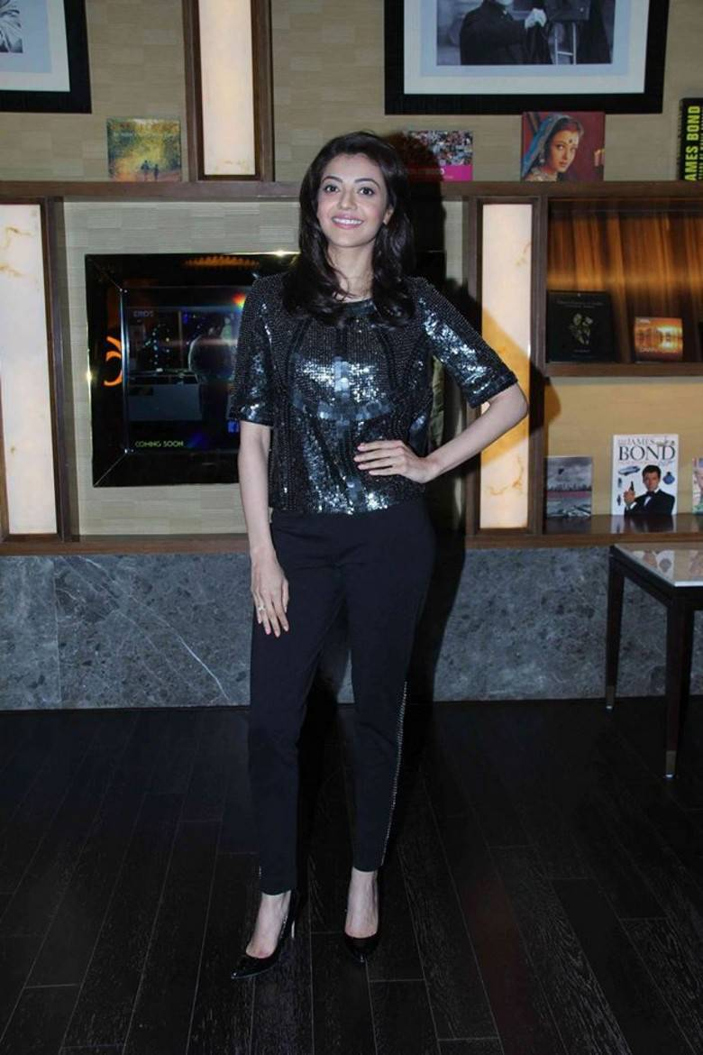 Kajal Agarwal Hot Stills At Movie Launch In Black Dress -4788