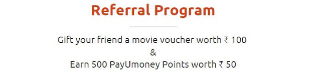 PayuMoney Referral Program to get movie Voucher