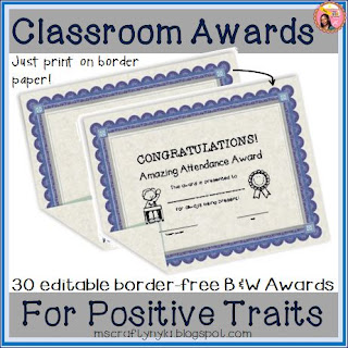 classroom awards to print on border paper