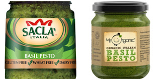 two jars of vegan pesto from Sacla and Mr Organic