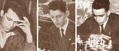 Los jóvenes ajedrecistas Jaume Anguera, Antoni Puget y Joaquim Travesset