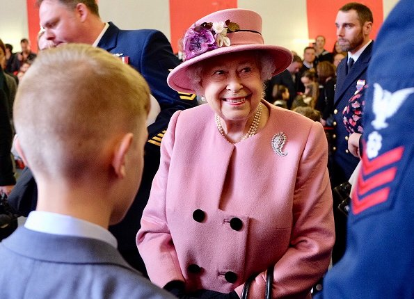 Queen Elizabeth attended the decommissioning ceremony for HMS Ocean. Queen wore pink coat and hat