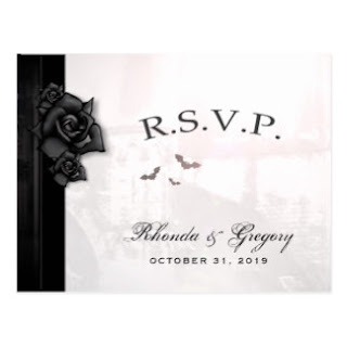 Gothic Romantic Wedding RSVP PostCard