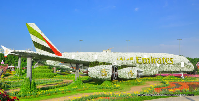 Emirates A380 in Dubai Miracle Garden