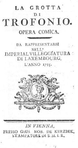 La Grotta di Trofonio Salieri libretto