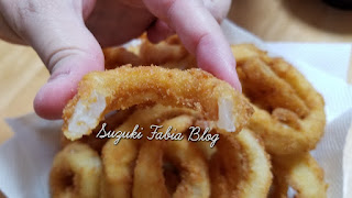 anéis de cebola empanados, foto por dentro