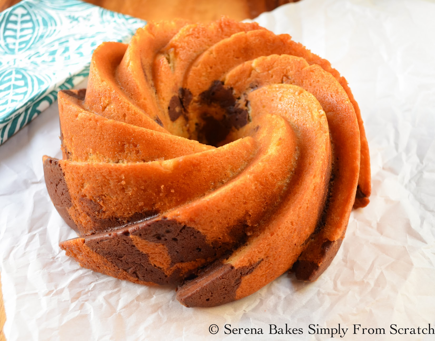 Buttermilk Marble Bundt Cake With Chocolate Glaze is perfect for company.