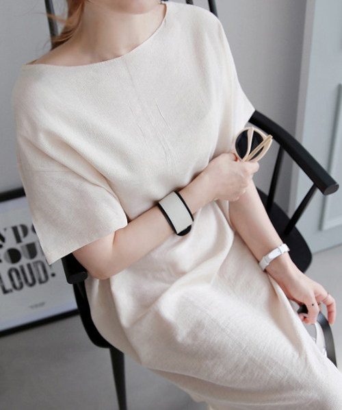 Plain Boat Neck Midi Dress