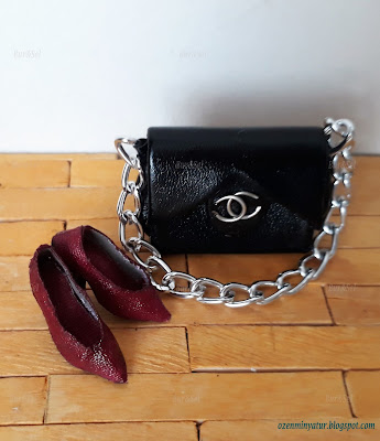 miniature shoes and bag