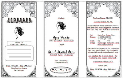 contoh undangan pernikahan hvs lipat 3 fotokopi format word