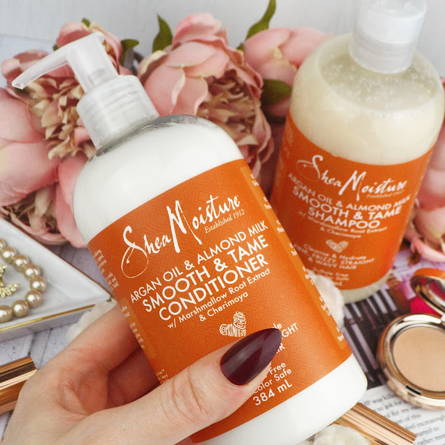 SheaMoisture Argan Oil & Almond Milk Smooth & Tame Shampoo & Conditioner Review, Lovelaughslipstick Blog