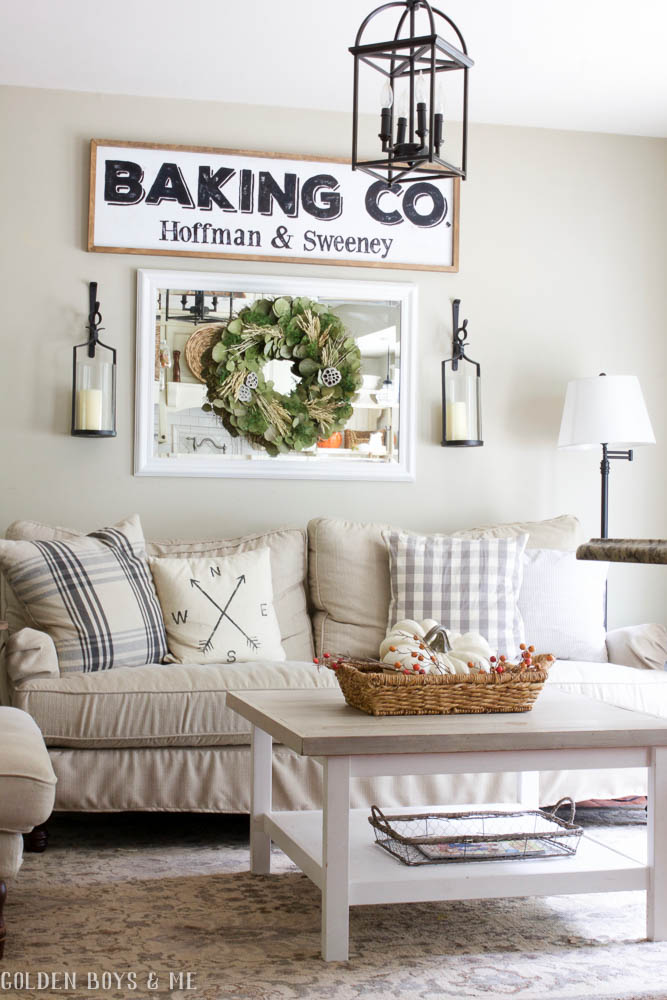 Neutral living room with Birch Lane Montgomery sofa and Ikea hack coffee table
