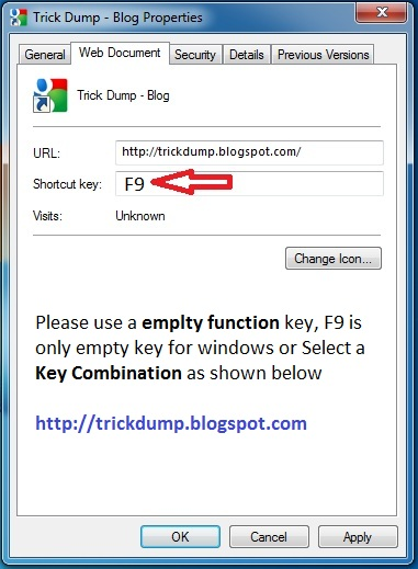 browse website from desktop or keyboard shortcut - trickdump
