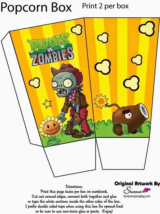 Plants vs Zombies Free Printable Popcorn Box.