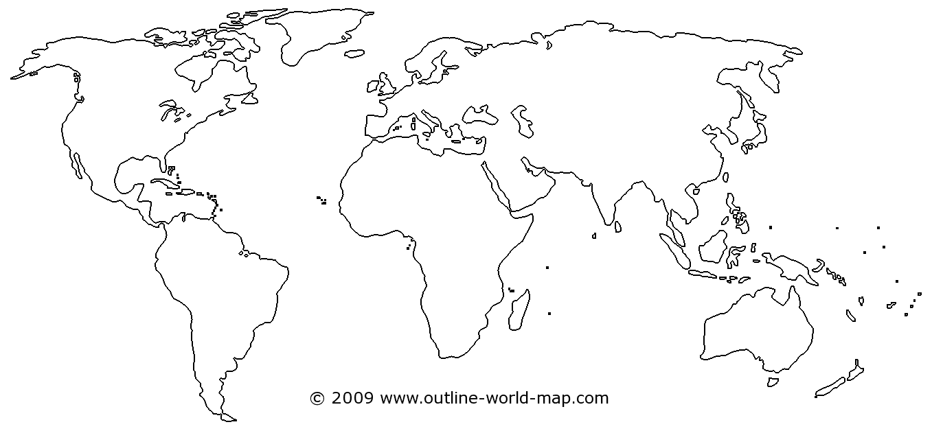 Blank Physical World Map Printable Blank Map of th...