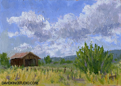 art painting landscape rural cloud sky barn