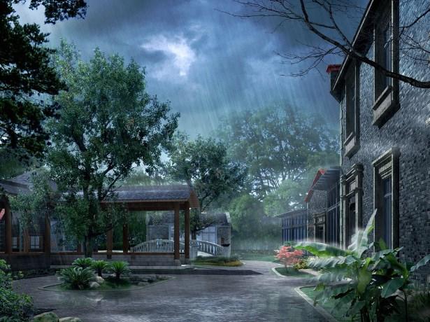 Background Pemandangan Hujan yang Romantis