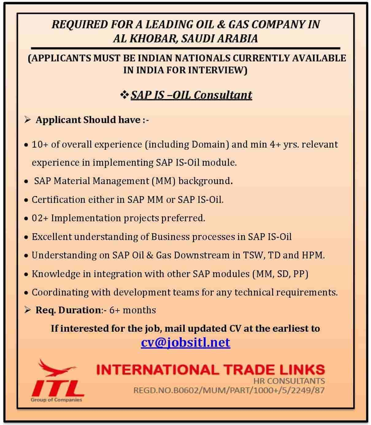 A Leading Oil U0026 Gas Co, Al Khobar, Saudi Looking For SAP IS   Oil Consultant