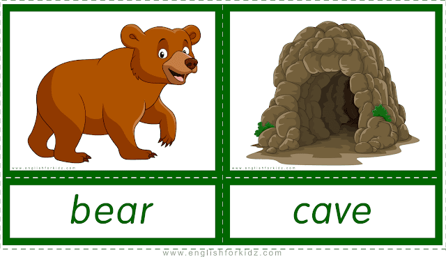 Animal homes and habitats -- bear - cave -- printable flashcards for English learners