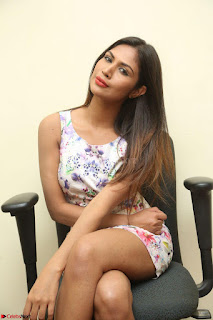 Nishi Ganda stunning cute in Flower Print short dress at Tick Tack Movie Press Meet March 2017 133.JPG