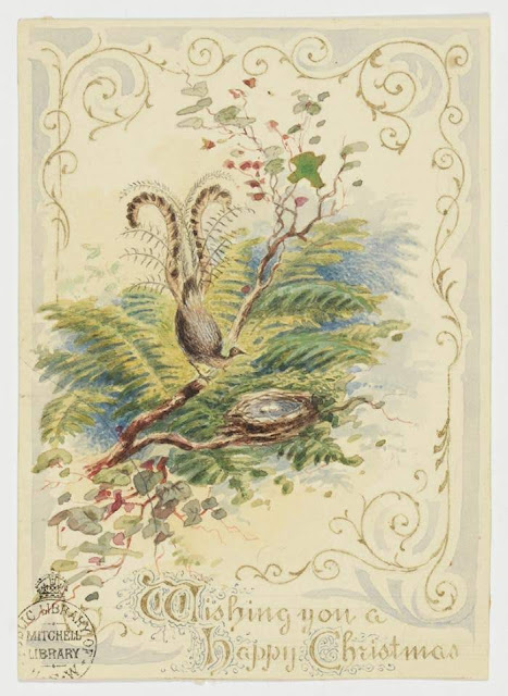 """Christmas Card design depicting an Australian bush scene, a peacock and nest, with the words """"Wishing You a Happy Christmas""""."""