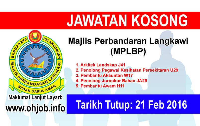 Jawatan Kerja Kosong Majlis Perbandaran Langkawi (MPLBP) logo www.ohjob.info februari 2016