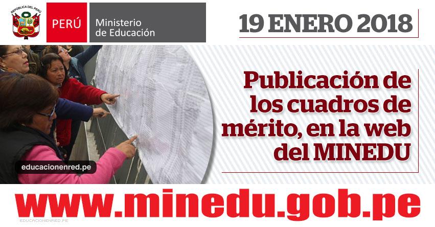 MINEDU: Cuadro de Méritos para Contrato Docente serán publicados hoy Viernes 19 de Enero 2018 - www.minedu.gob.pe