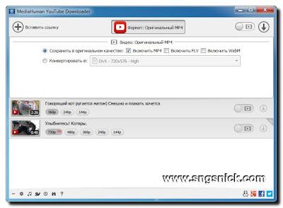MediaHuman YouTube Downloader - Загрузка в оригинальном качестве