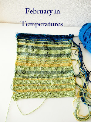 Knit two rows every day according to the temperature in your part of the world.