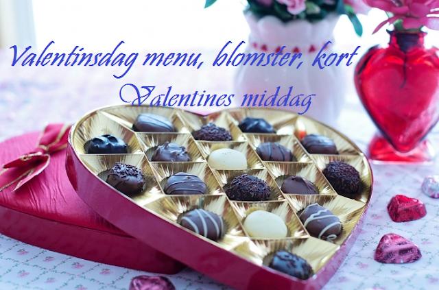 Valentinsdag menu, blomster, kort - Valentines middag