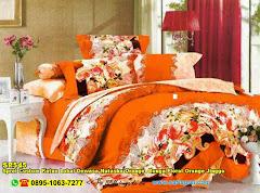 Sprei Custom Katun Lokal Dewasa Natasha Orange  Bunga Floral Orange Jingga
