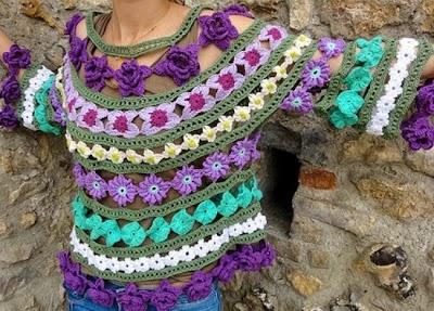 Top Flores en Hileras de Crochet