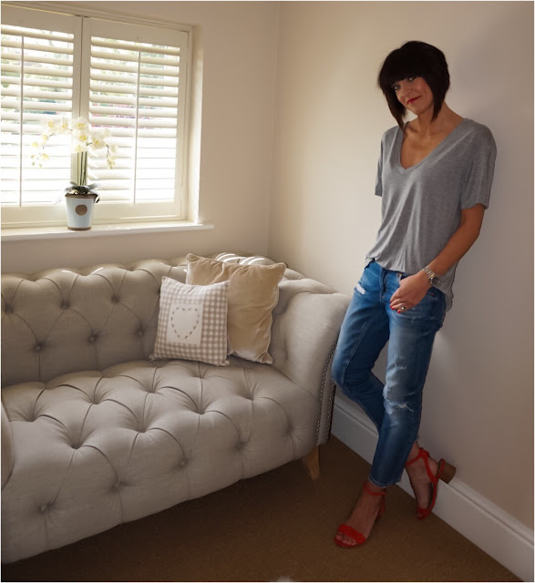 My Midlife Fashion, Zara deep V grey marl loose fit t shirt, distressed cigarette length straight leg jeans, red block heel marks and spencer insolia sandals