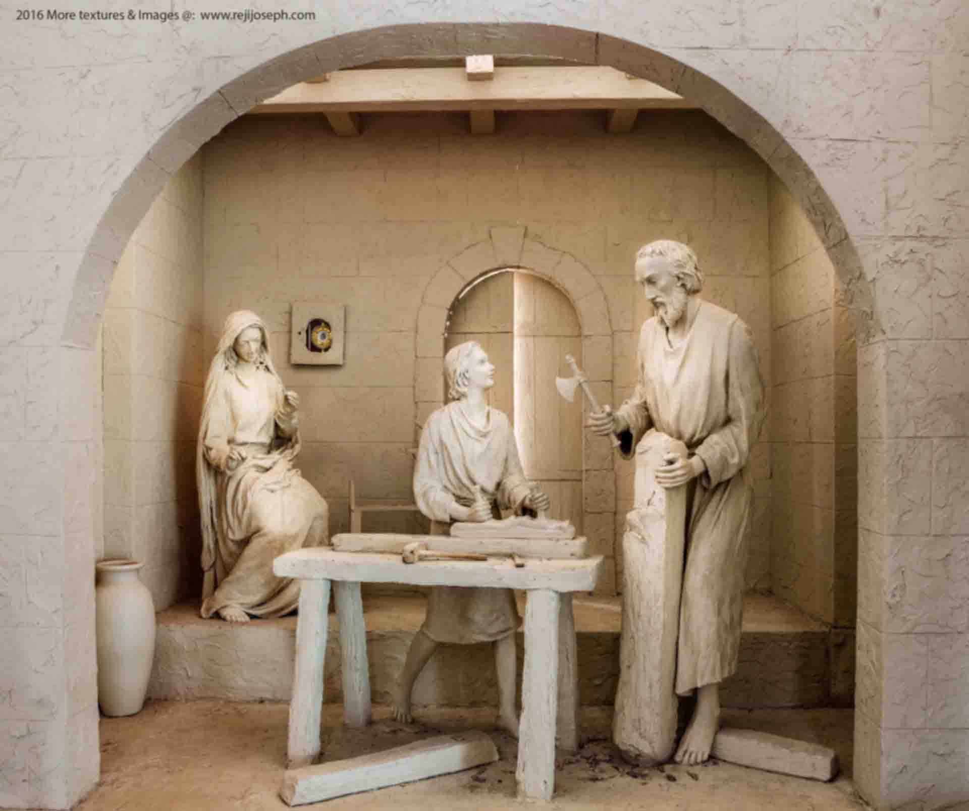 Holy Family Statue Jesus as Carpenter in Workshop 001