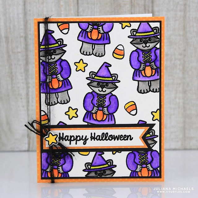 Sunny Studio Stamps:  Halloween Cuties Raccoon Witch Card by Juliana Michaels
