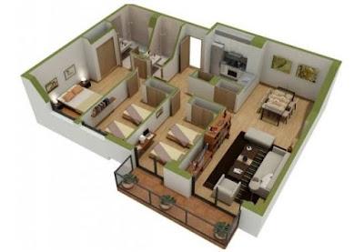 Contoh Model Denah Rumah 3 Kamar Tidur Minimalis 3D