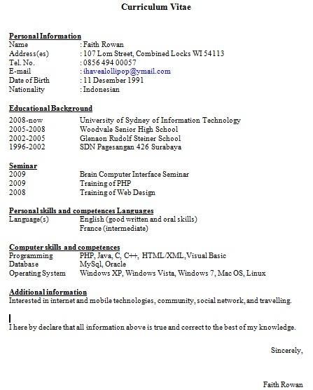 contoh format cv bahasa inggris contoh surat lamaran kerja bahasa inggris contoh format curriculum vitae dalam