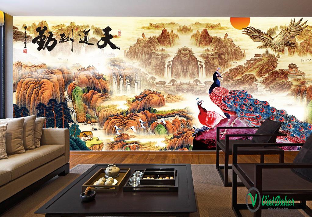 Tranh dán tường 3d sơn dầu trang trí phòng khách