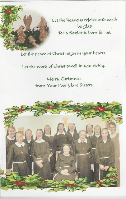 Christmas wishes from the Poor Clares at Chesterfield, NJ 2017