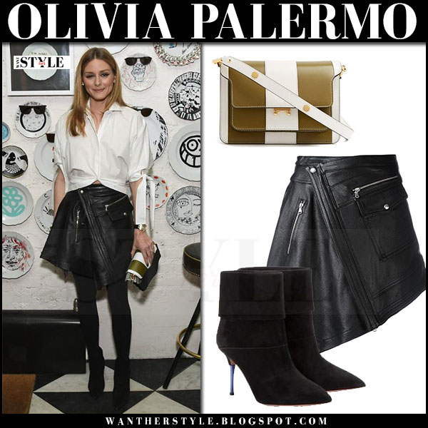 Olivia Palermo in white shirt, black leather mini skirt diesel black gold and black ankle boots what she wore march 2017