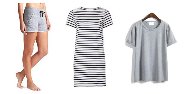 Athleta Shorts, Striped Tshirt Dress, Grey Tshirt, College Blogger, Lifestyle Blogger