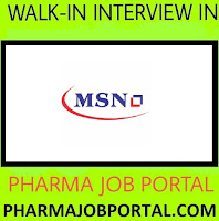 MSN Laboratories Walk In Drive For FRESHERS, B.Pharm, M.Pharm, M.Sc at 19 Sep