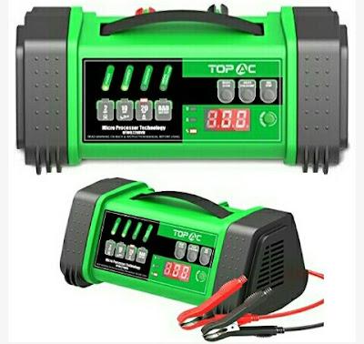 Topac Car battery Charger - 12V/24V Smart Charging Technology