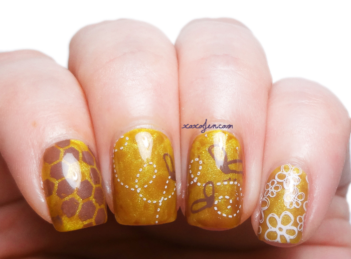 xoxoJen's nail art stamping with Vivid Lacquer plate vl002 and vl008 bees